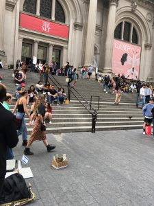 Picture shows my arrive at The Met Fifth Ave at 5:37 and 37 seconds on Saturday, September 7th, just after finishing the uptown walk of Soundwalk 9:09