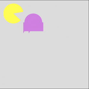 My failed attempt to draw Pac Man and a ghost using p5.js