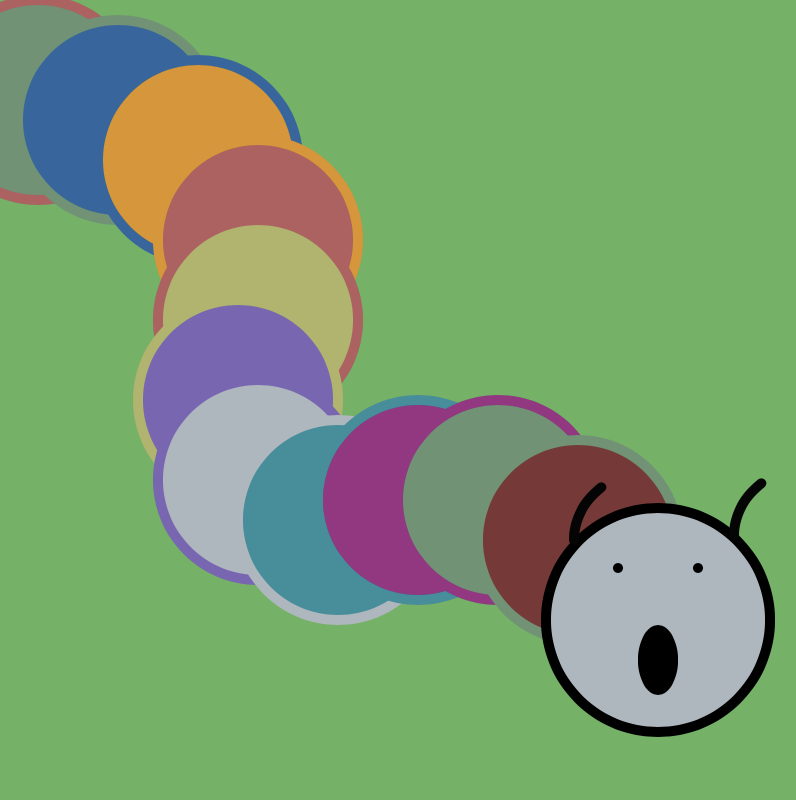 An image showing the final version of my creation in p5.js which resembles a caterpillar