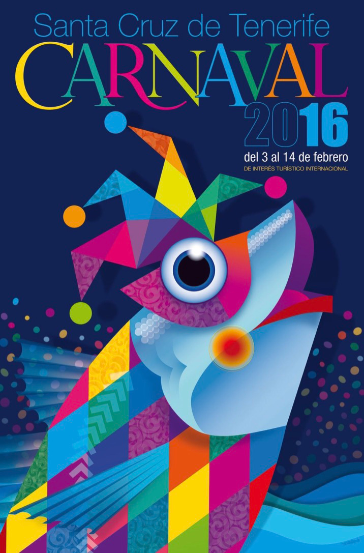Official Poster Promoting Carnaval for 2016 in Santa Cruz de Tenerife in the Canary Islands, Spain.