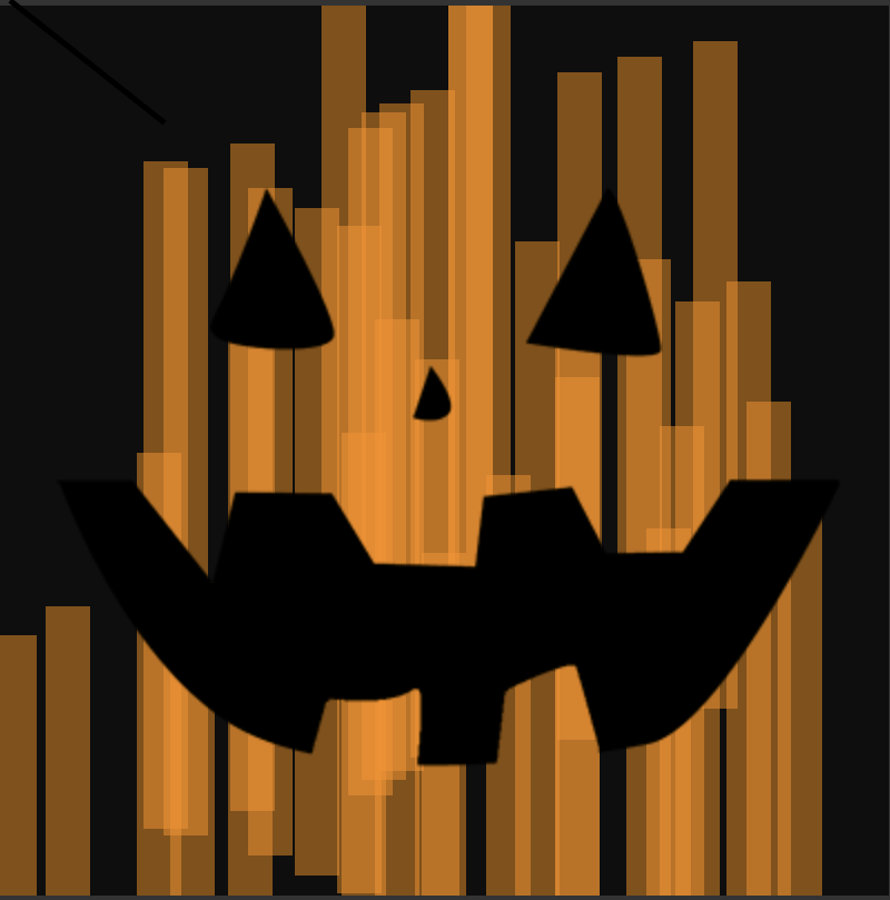 Jack-o-lantern face revealed as orange bars illuminated it from behind
