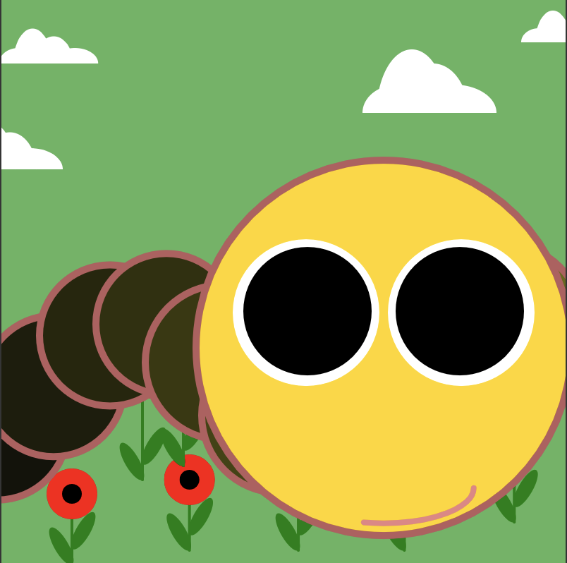 My Very Hungry Critterpillar in a field of poppies with clouds passing overhead