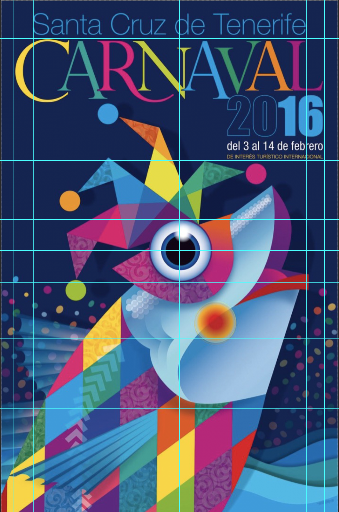 Underlying Grid System Analyzing the Official Poster Promoting Carnaval for 2016 in Santa Cruz de Tenerife in the Canary Islands, Spain.
