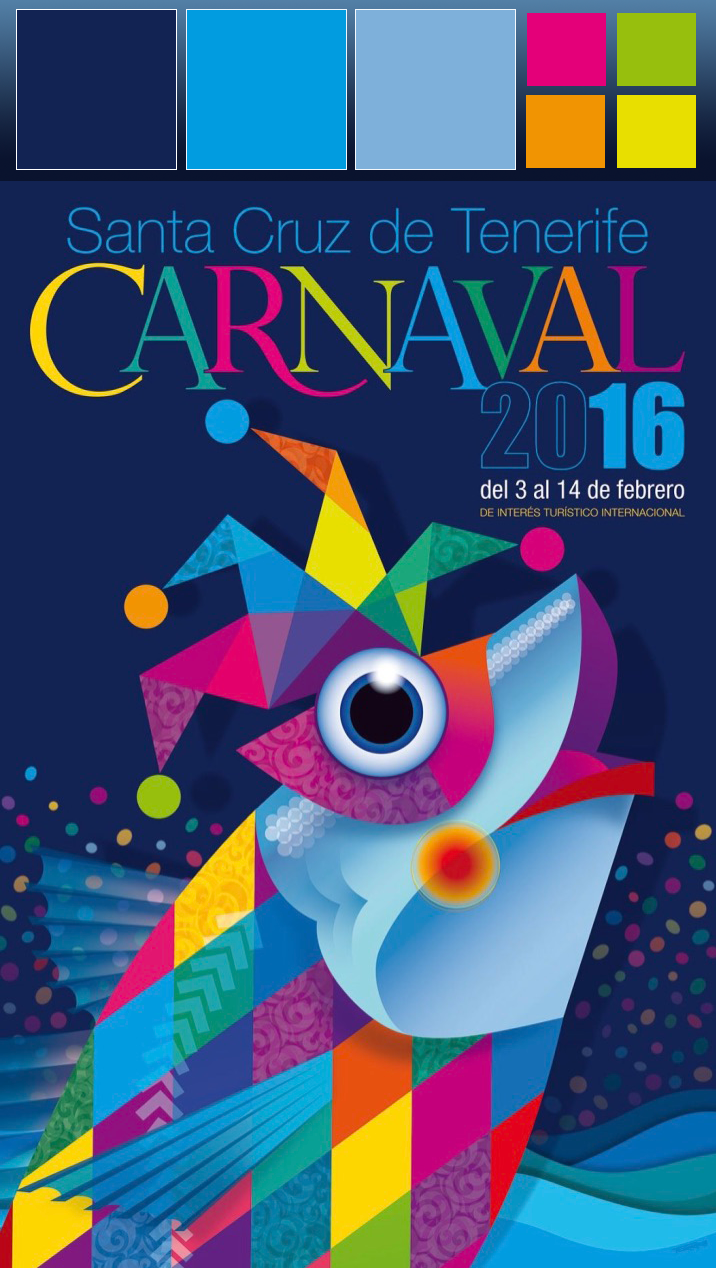 Color Pallet of the Official Poster Promoting Carnaval for 2016 in Santa Cruz de Tenerife in the Canary Islands, Spain.