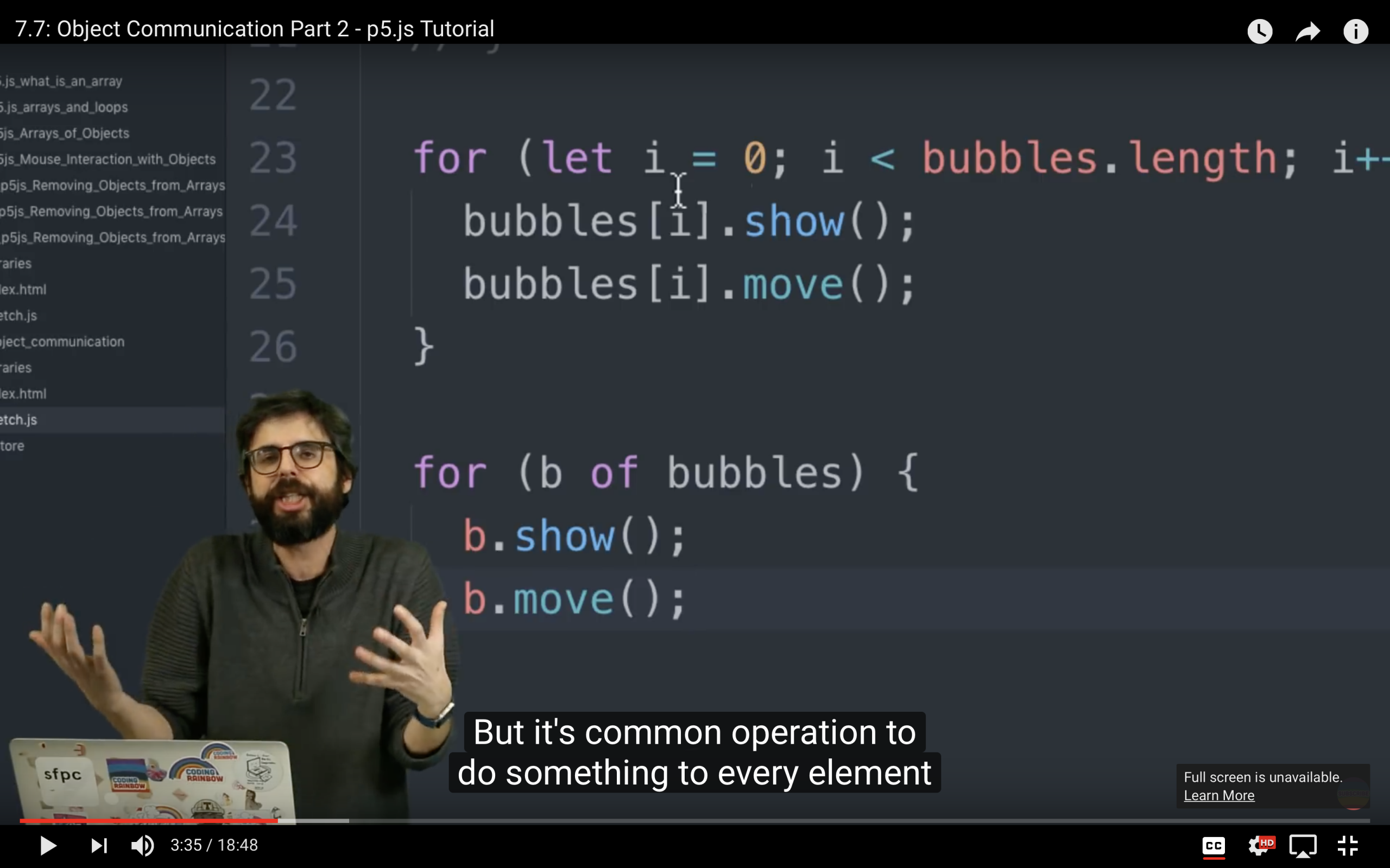 One of many, many Coding Train videos I watched to prepare me to tackle this final project.