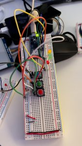 An attempt to create a three toggle button system with independent LEDs. I couldn't get it to work, but spent hours with it. Ultimately, there were hardware issues, but they made me comb through my code enough it improved it! Ultimately, I landed on a 1 button-to-get-it-done system.