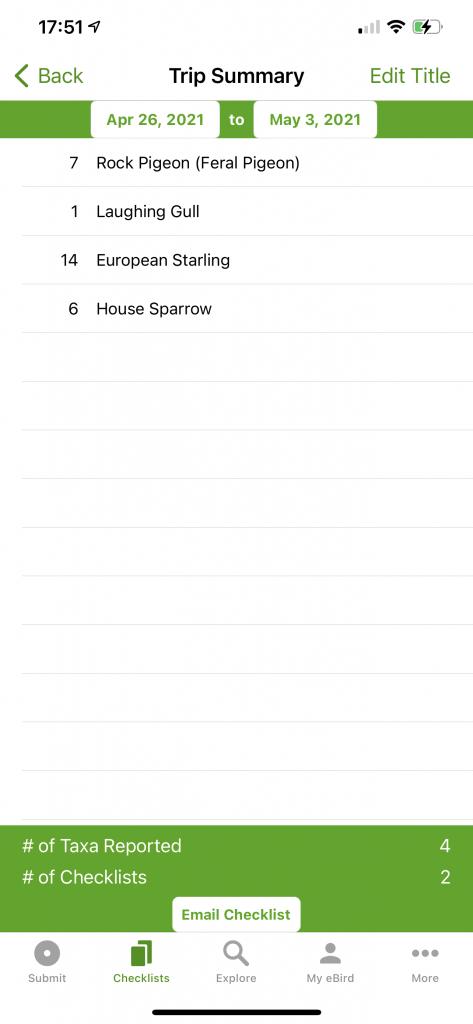 Snapshot of my eBird Checklist for this week