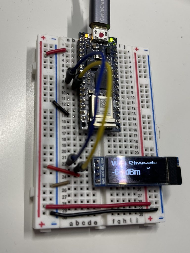 My Breadboard for my WiFi Network Signal Strength Reader
