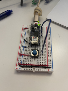 """Picture of breadboard following the instructions given on the page with the examples for """"Read from one characteristic"""". This specific setup I tried using with the """"Start and Stop Notifications"""" page, but the demo area didn't match up enough"""