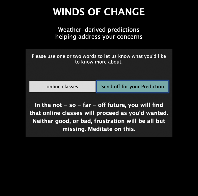 Screen Shot of Winds of Change - A JavaScript Weather-based Divination Tool