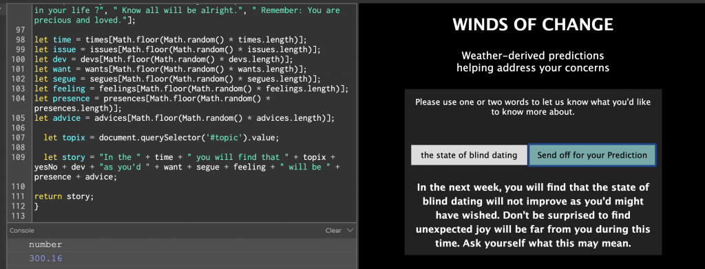 Screen Shot of code for Winds of Change on p5 editor site