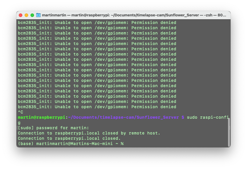 Screen Shot of the error I was getting. I ran the server using 'sudo node server.js' and this solved the issue. Apparently, this error message means I need root permissions to run.