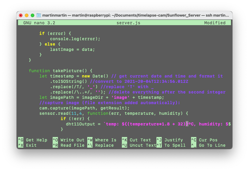 Screen Shot using nano in Terminal to insert the DHT11 code into my server code remotely.