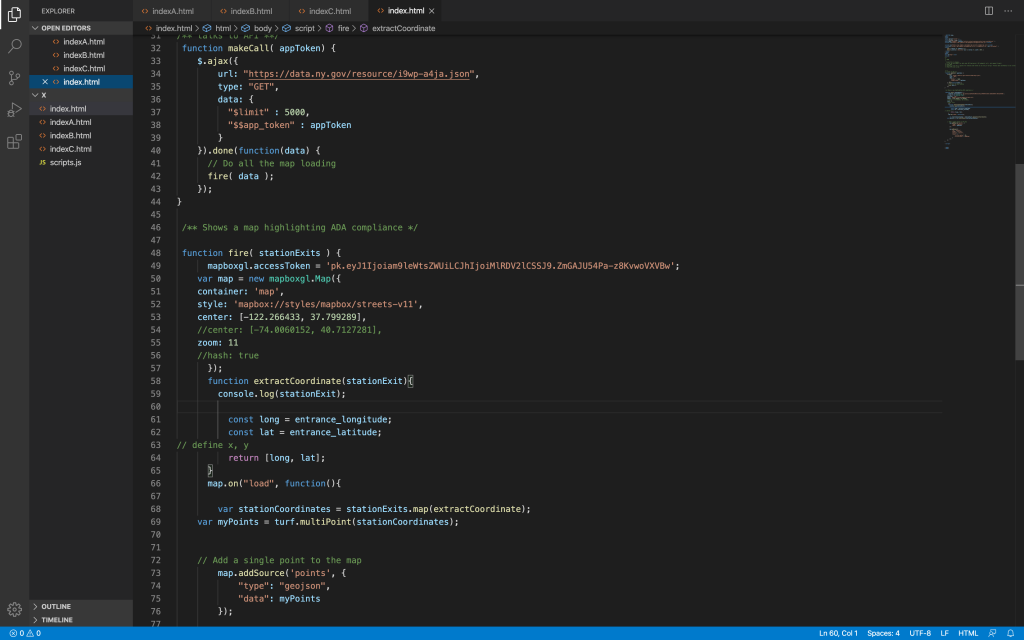 Code showing my attempt to implement NYC OpenData API unsucessfully