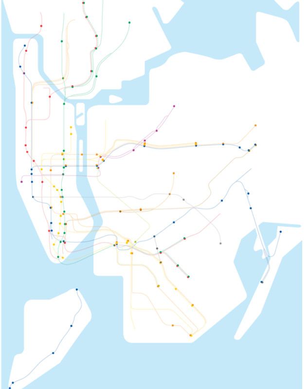 A Map of the New York City Subway System with Only Stations with Accessible Stations Source: ny.curbed.com