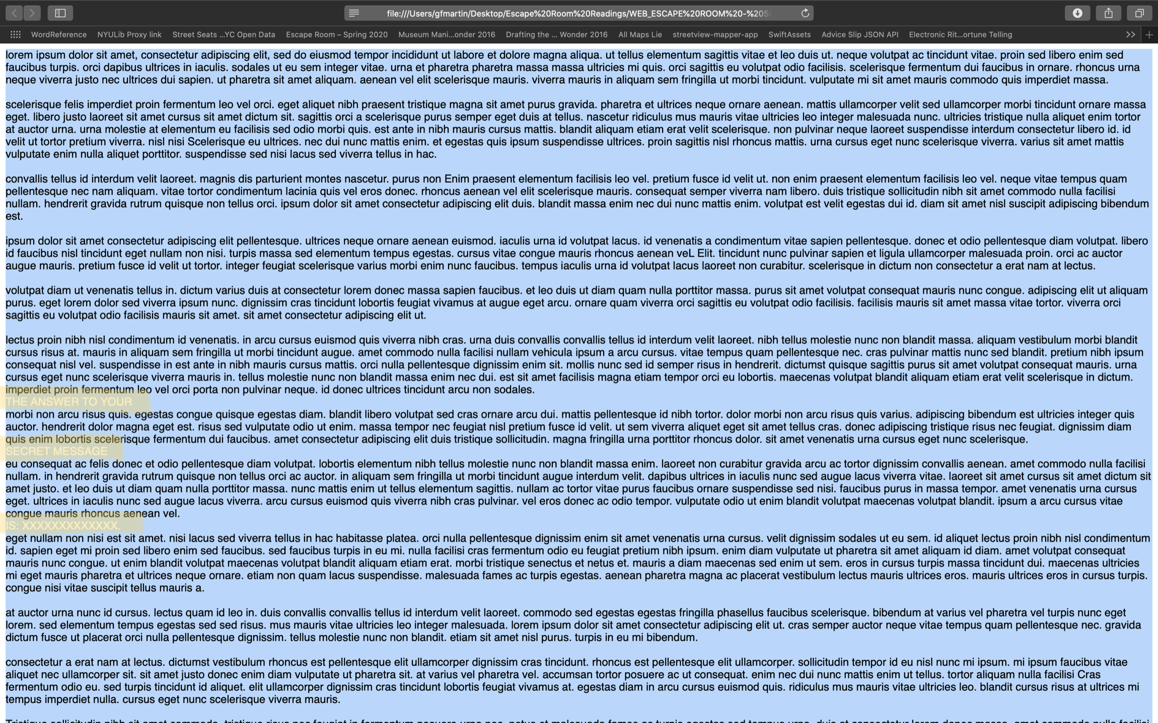 Screen Shot - Lorem Ipsum CAPS word search - Secret Message Reveal