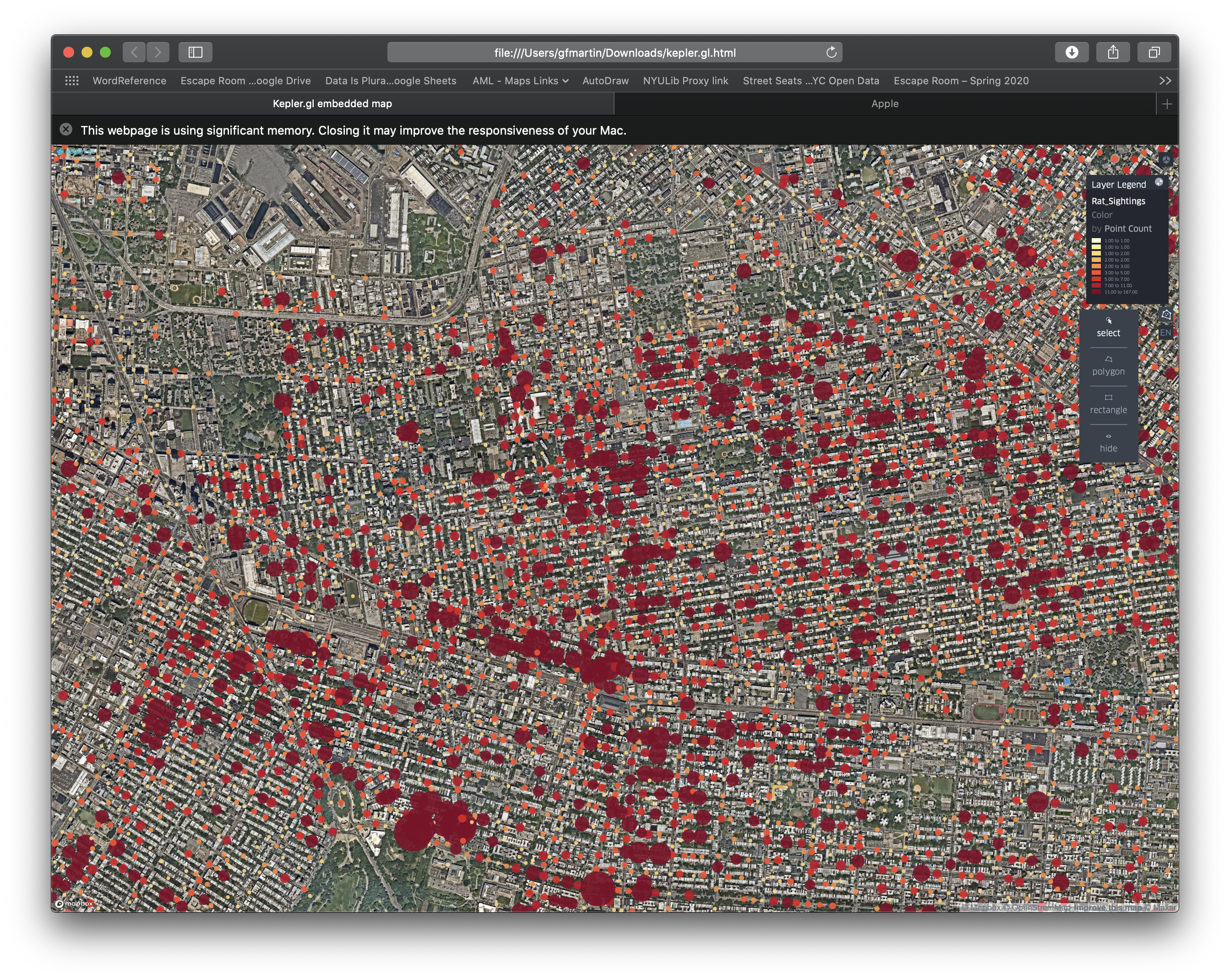 Screen Shot of me trying to plot every reported rat sighting in NYC from 2010 to April 2020. No wonder my browser kept crashing.
