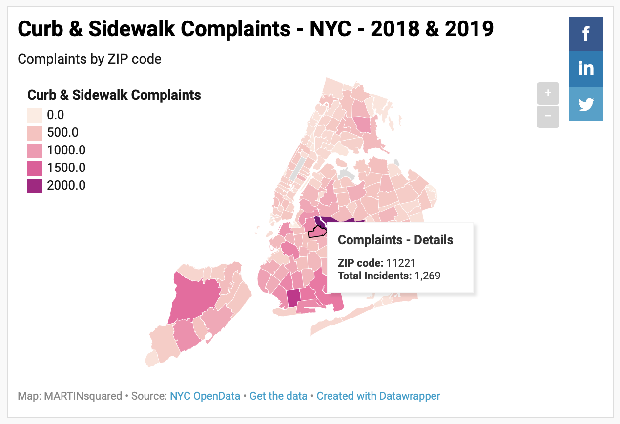Datawrapper.de visualization of Curb and Sidewalk Complaints in NYC by ZIP Code for 2018 and 2019
