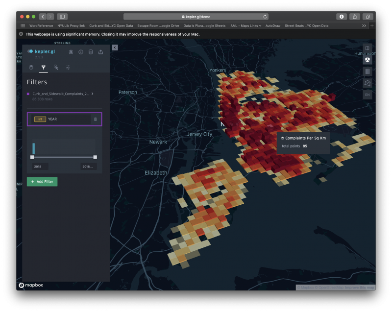 Kepler.gl visualization of Curb and Sidewalk Complaints in NYC by ZIP Code for 2018 and 2019