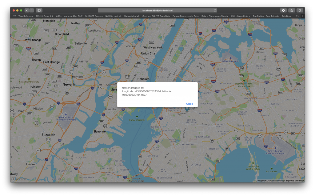 Screen Shot of my first sucessful Mapbox GL implementation with Movable Marker