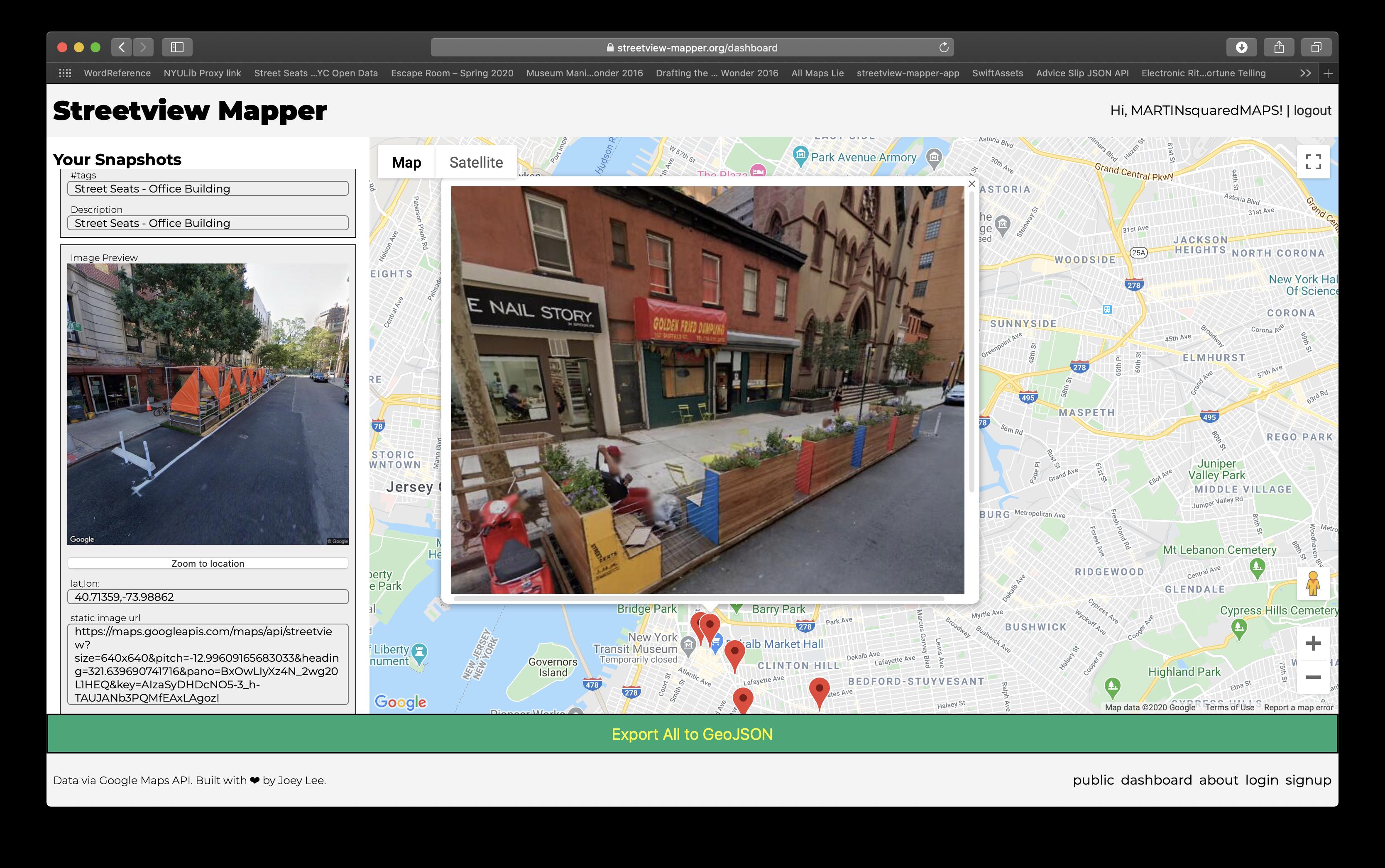 Streetview Mapper - Screen shot of Data Scavenger Hunt