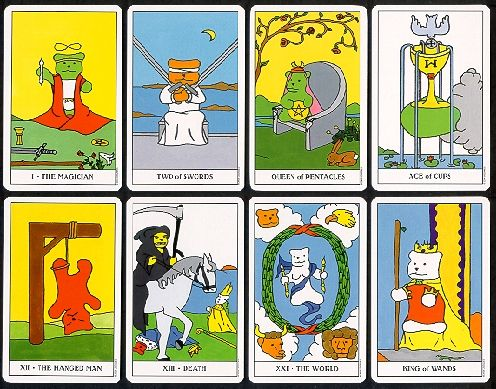 Cards from the Gummy Bear Tarot Deck. Not exactly Rider-Waite, but they're cute as all get out!