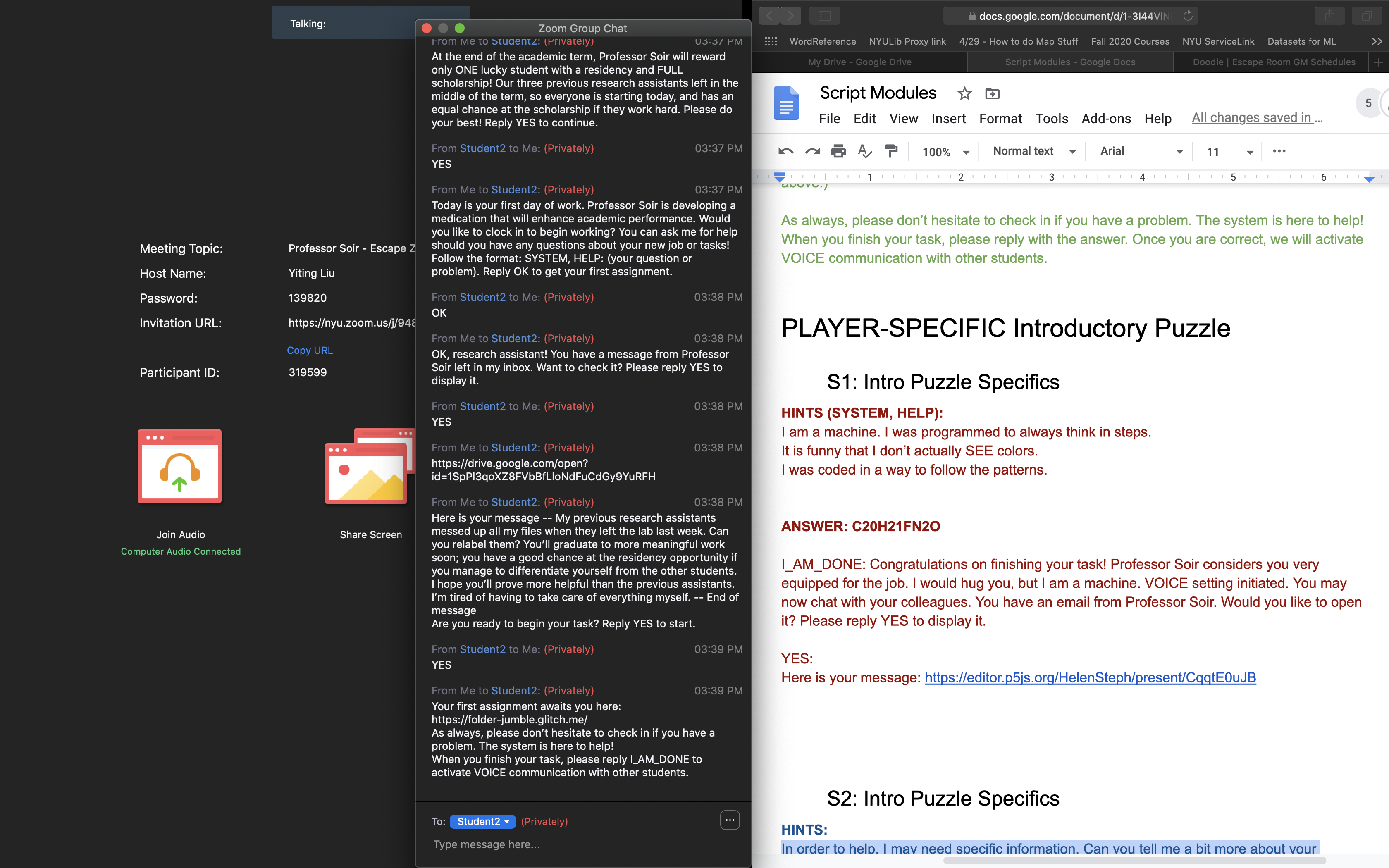 Screen Shot of my Screen while GMing; Escape Zoom on the left. Google Doc with Script Modules on the Right