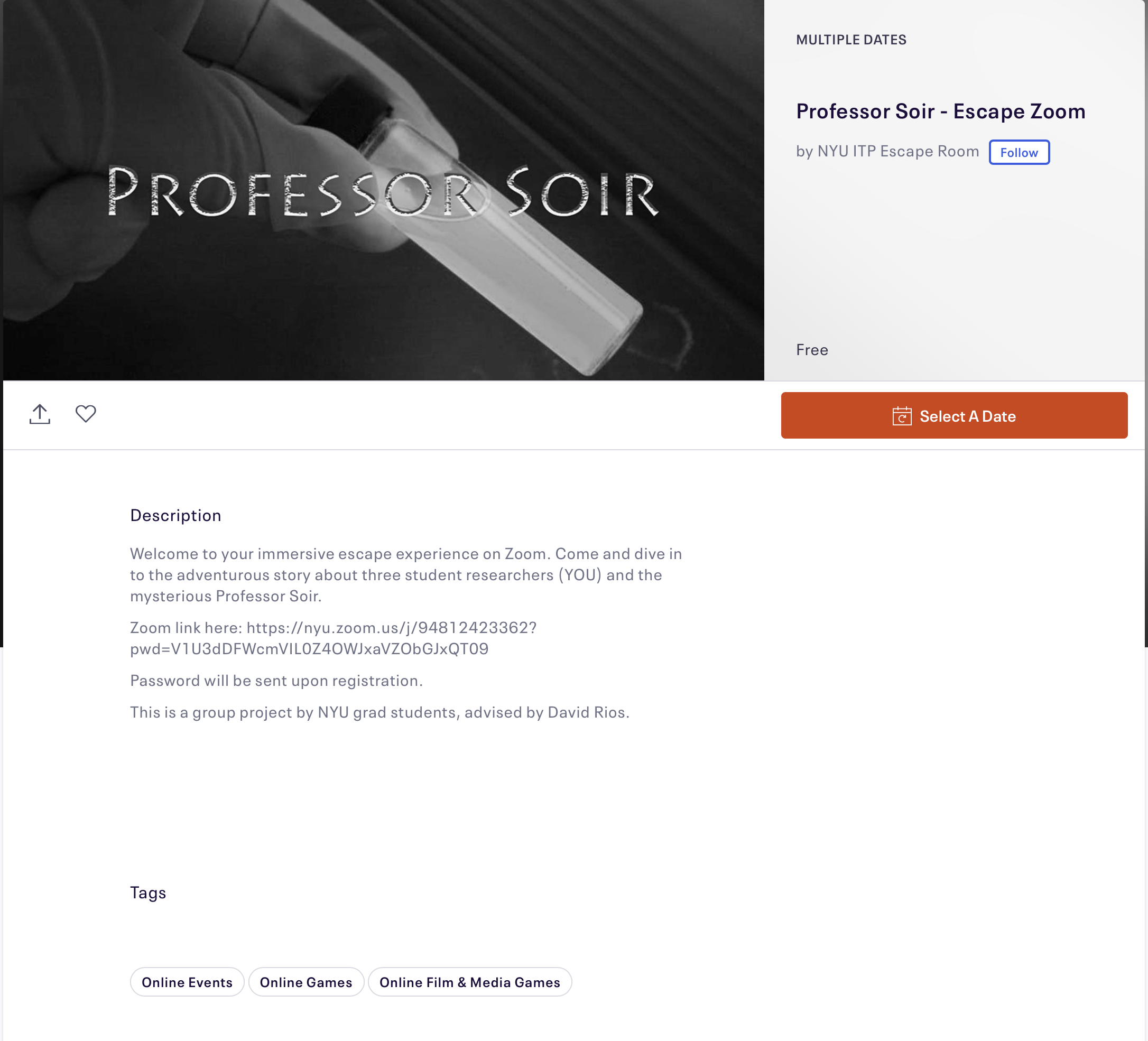 Eventbrite Listing for Professor Soir's Escape Zoom