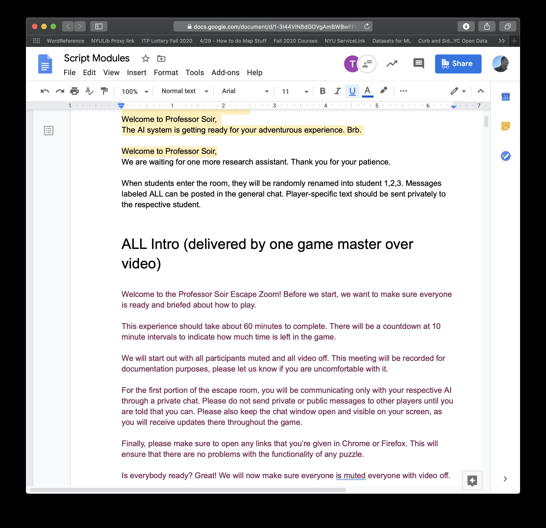 Screen Shot of Script Modules for Professor Soir's Escape Zoom