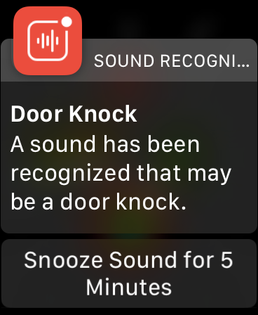 "The screen reads, ""Door Knock A sound has been recognized that may be a door knock."" Along with an option to snooze the notifications for 5 minutes. It reaffirmed I had indeed heard someone knocking. If you have an Apple Watch, Sound Recognition notifications will appear on your Watch once you've upgraded to WatchOS 7 (which is built into iOS 14.) See? Another perk to the newest operating system!"