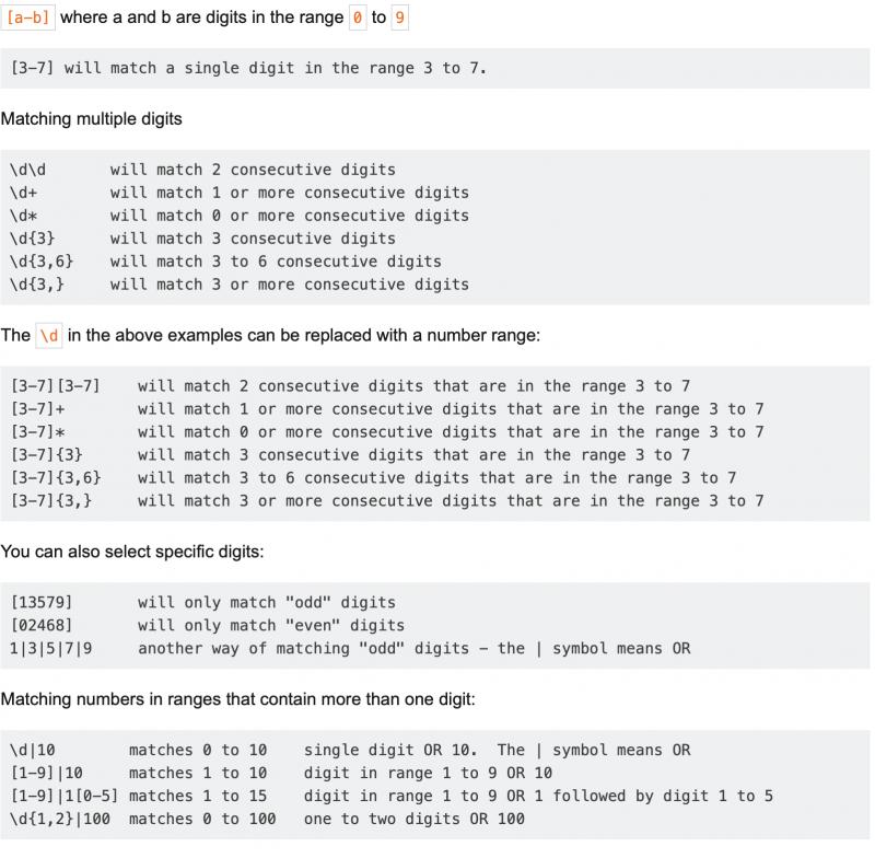 RegEx Examples Screen Shot from riptutorial.com