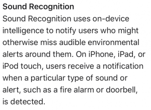 Screen Shot from Apple.com - iOS 14 - Sound Recognition Description