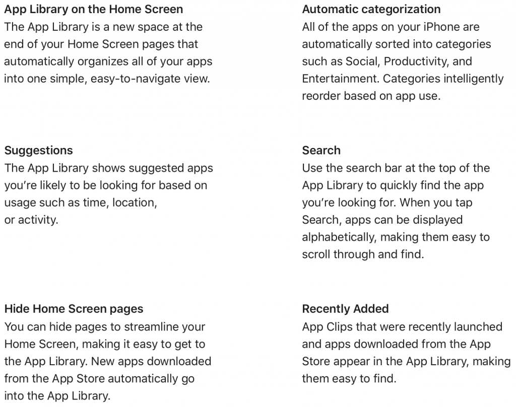 Screen Shot from Apple.com - iOS 14 - App Library Description
