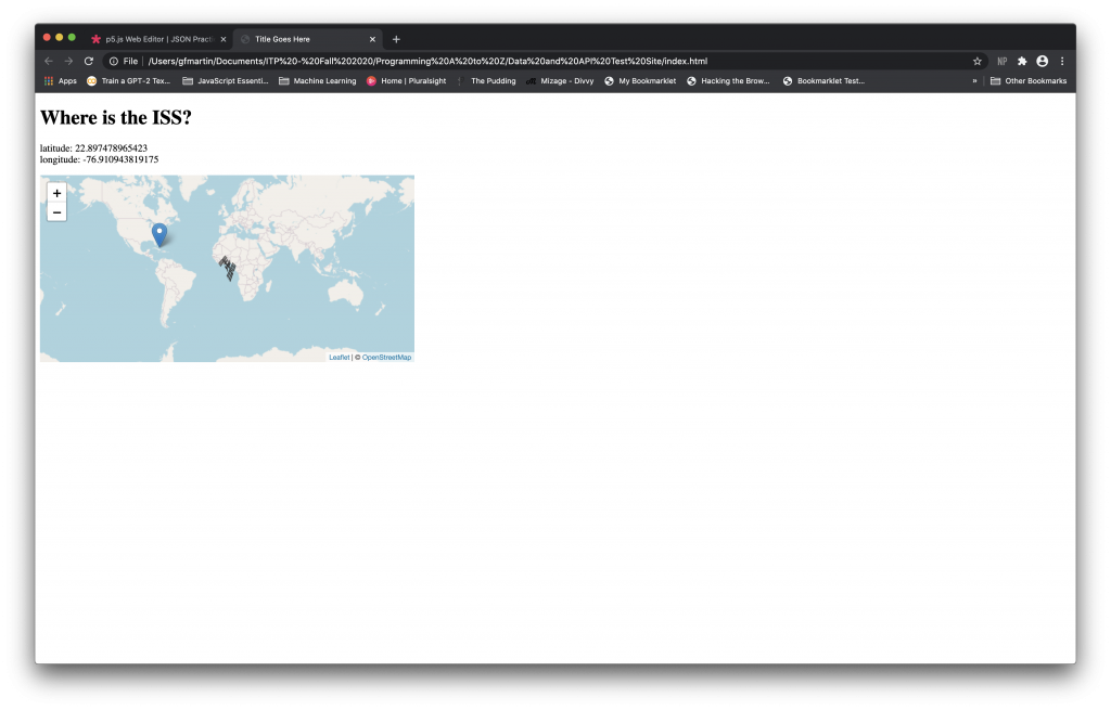 Screen Shot Playing with Leaflet.js and APIs