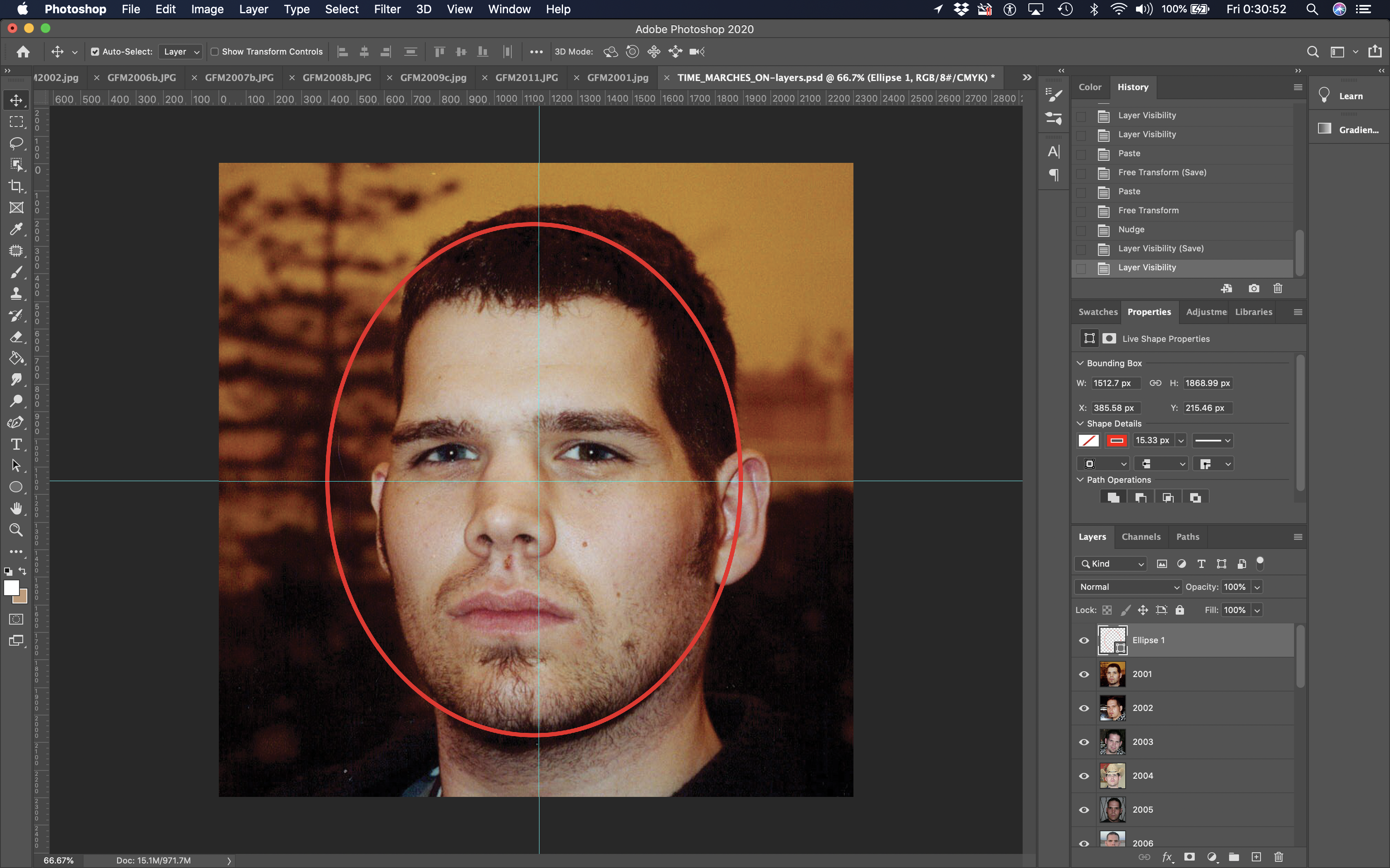 Screen Shot of Photoshopping Images for my Sketch comparing 20 Years of Face Pictures