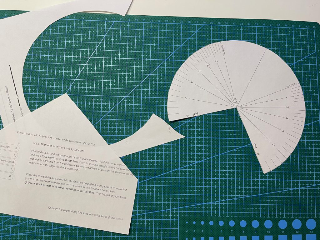 Creating my paper sundial from a customized printout