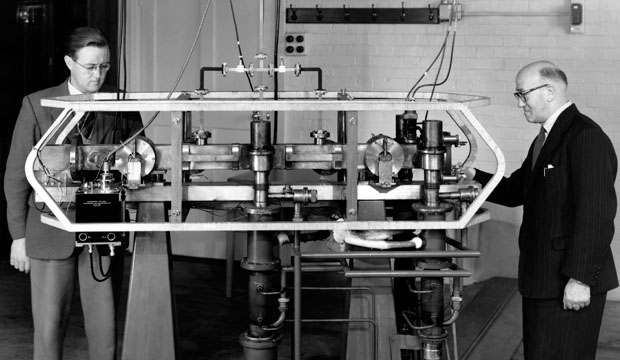 First Caesium-133 Atomic Clock - Louis Essen and Jack Parry. Source - wikipedia.com