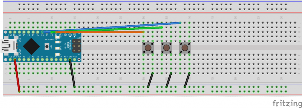 Made on Fritzing: Nano Breadboard with 3 Buttons