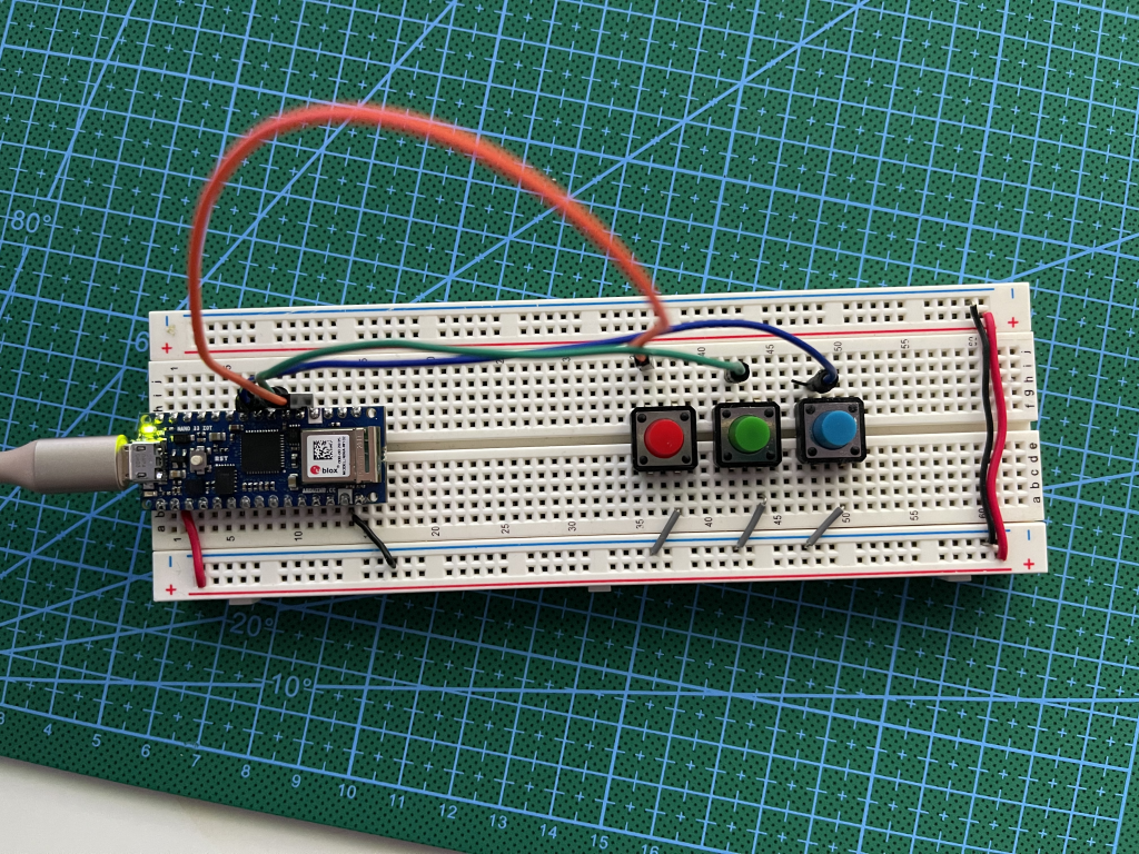 Three Push Button Breadboard for Week 1 of Connected Devices connected using p5 Serial Control